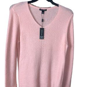 Cable & Gauge V-Neck Pink Lite Weight Sweater L